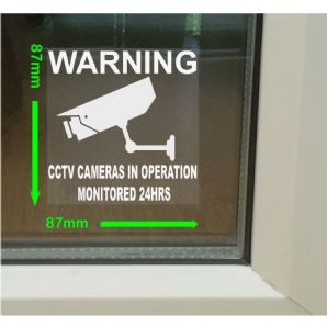1 x Window Stickers-Monitored by CCTV Video Recording Camera In Operation-24hr Monitoring Security Warning Stickers-Self Adhesive Vinyl Sign